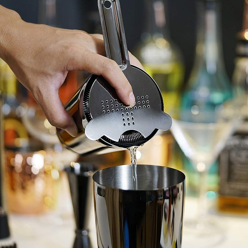 Cocktail Shaker Bar Set: Weighted Boston Shakers, Cocktail Strainer Set,Jigger, Cocktail Muddler,Spoon, Ice Tong,Pourers